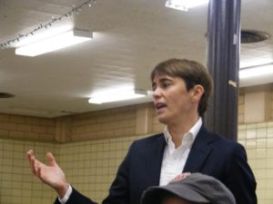 """It's always been my desire to create a more walkable, safer area more walking, I want more eyes on the street,"" Ald. Deb Mell told a stormy community meeting at Horner Park. Photo by Patrick Butler"